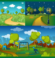 park alley way banner concept set cartoon style vector image vector image