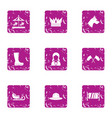 park with children icons set grunge style vector image