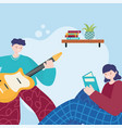 people activities man playing guitar and girl vector image