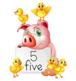pig and five little chicks vector image vector image