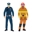 policeman and fireman cartoon icon service 911 vector image vector image