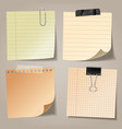 realistic blank sticky notes with clip binder and vector image