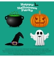 Set for Halloween party pumpkin witch hat vector image vector image