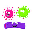 set of angry funny bacterias germs in cartoon vector image vector image