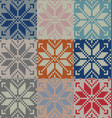 set of nine nordic knitted seamless pattern eps vector image