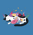 sleeping cute little gnomes and a cat magic elves vector image vector image