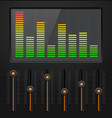 sound equalizer with black vertical sliders vector image