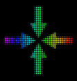 spectral colored pixel collide arrows icon vector image vector image