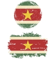 Surinamese round and square grunge flags vector image vector image
