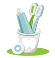 Tooth Toothpaste Dental Floss Toothbrush vector image vector image