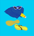 towel sunglasses flip-flops sunblock vector image vector image
