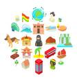 travel landmark icons set cartoon style vector image vector image