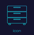 turquoise furniture nightstand line icon isolated vector image vector image