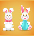 two funny easter bunnies with a bow and egg vector image vector image