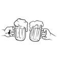 two glasses beer black and white vector image vector image