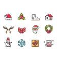 hat and mistletoe santa icons vector image