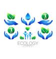 natural logo design set hands leaves water vector image