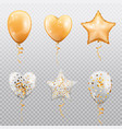 balloons heart ball or star shape isolated vector image vector image