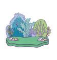 beautiful garden bush landscape scene vector image