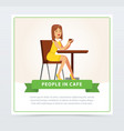 beautiful woman sitting at the table drinking vector image