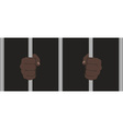 Black man fists holding prison bars vector image vector image