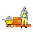 builder character brick wall and wheelbarrow vector image vector image