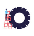 businessman climbing stairs gear team vector image