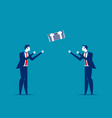 businessman throwing and catching money concept vector image vector image