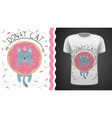 cat with donut - idea for print t-shirt vector image