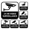 CCTV labels Set symbols video surveillance vector image vector image