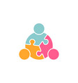 children teamwork logo in puzzle vector image