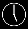 clock icon on black vector image vector image