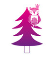 color silhouette ethnic owl animal in pine tree vector image vector image
