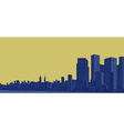 Contour of the big city on a yellow background vector image