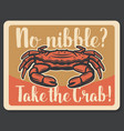 crab seafood fishing vintage poster vector image