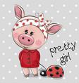 cute cartoon piggy girl in a red coat vector image