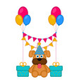 cute dog with a party hat and presents vector image