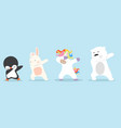 dabbing cartoon animals dancing sign set vector image vector image