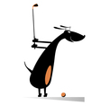 Dog playing golf vector image vector image
