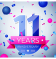 Eleven years anniversary celebration on grey vector image