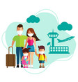 family tourism with surgical mask face protection vector image vector image