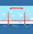 golden gate bridge in flat style vector image vector image