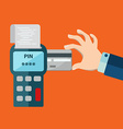 Hand inserting credit card to a POS terminal vector image vector image