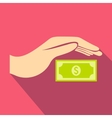 Hand protects dollar banknote icon flat style vector image