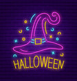 happy halloween neon sign bright light banner vector image vector image