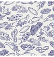 Healthy seafood ball pen seamless pattern vector image vector image
