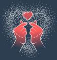 korean love sign gesture finger heart vector image vector image