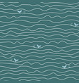ocean abstract waves and whales seamless vector image