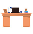 office desk with laptop isolated icon vector image vector image