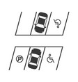 parking lot with disabled sign and no parking sign vector image